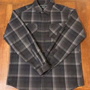 Exofficio Plaid Gray Plaid Long Sleeve Shirt Large